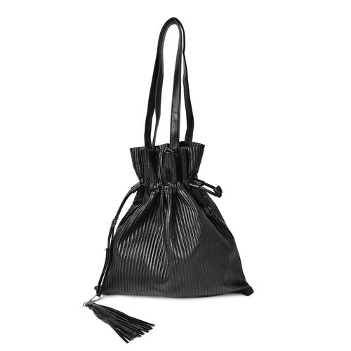 Black Colour Pleated Embossed  Bag with Tassel Charm (Size 42X35 Cm)