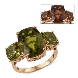 Alexite (Cush 9.50 Ct) 3 Stone Ring in 14K Gold Overlay Sterling Silver 13.500 Ct.