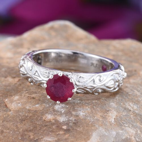 Royal Jaipur African Ruby (Rnd 1.00 Ct), Burmese Ruby Ring in Platinum Overlay Sterling Silver 1.030 Ct.