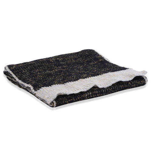 Black and Grey Colour Winter Knitted Scarf (Size 240x40 Cm)