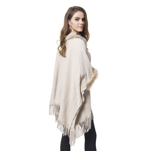 Designer Inspired - Off White Colour Faux Fur Cape with Tassels (Free Size)