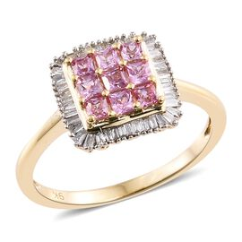 Designer Inspired-9K Y Gold AAA Pink Sapphire (Sqr), Diamond Ring 1.000 Ct.