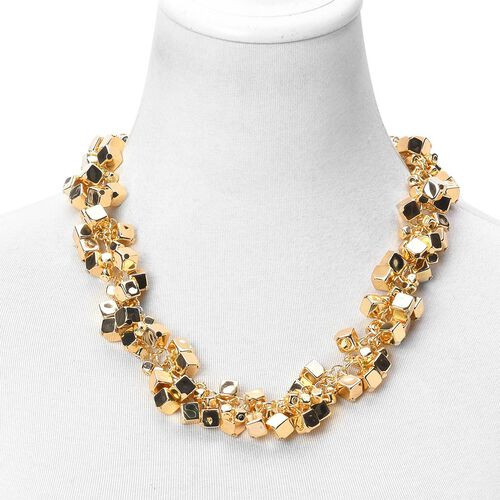 Cluster of Cube Shape Charms Necklace (Size 22 with 3 inch Extender) in Yellow Gold Tone