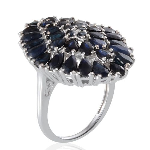 Kanchanaburi Blue Sapphire (Pear) Cluster Ring in Platinum Overlay Sterling Silver 7.500 Ct.