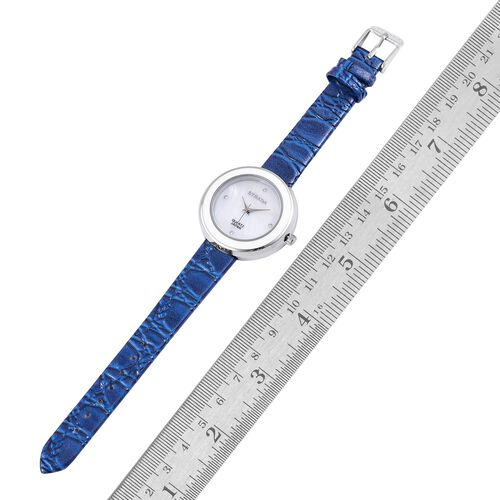 STRADA Japanese Movement White Austrian Crystal Studded MOP Dial Water Resistant Watch in Silver Tone with Blue Colour Strap
