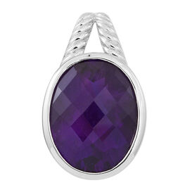 Very Rare Size Amethyst (Ovl) Pendant in Rhodium Plated Sterling Silver 15.750 Ct.