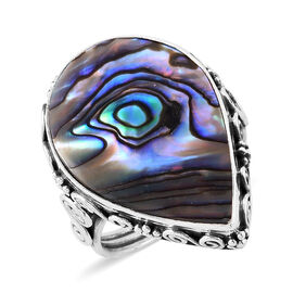 Royal Bali Collection Abalone Shell (Pear) Ring in Sterling Silver, Silver wt 5.40 Gms.