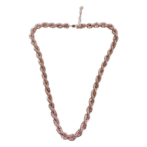 JCK Vegas Collection Rose Gold Overlay Sterling Silver Rope Chain (Size 18 with 2 inch Extender) Silver wt 33.00 Gms.