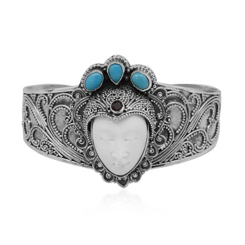 Princess OX Bone Carved Face, Arizona Sleeping Beauty Turquoise and African Ruby Bangle (Size 7.5) in Sterling Silver 16.000 Ct. Silver wt. 40.00 Gms.
