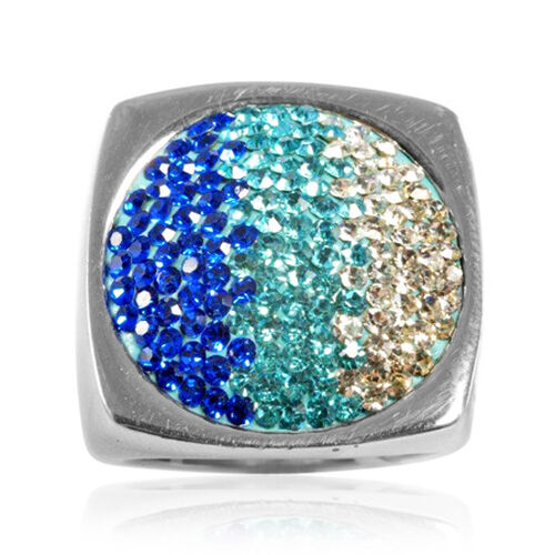 Blue and White Crystal Silver Tone Ring (Size R)