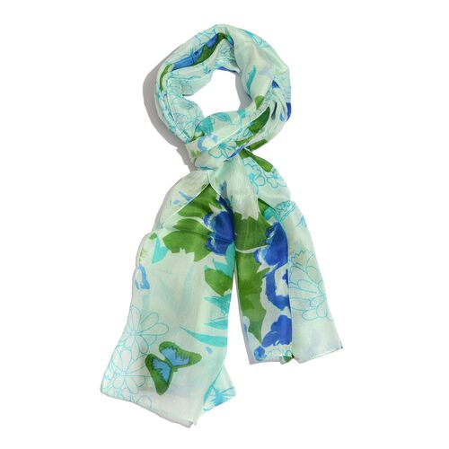 100% Mulberry Silk Mint Blue and Multi Colour Floral, Butterfly and Leaves Pattern Scarf (Size 170x50 Cm)