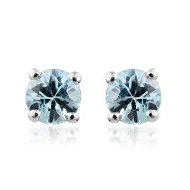 Blue Zircon Stud Earrings (with Push Back) in Platinum Plated Silver 1.25 Ct