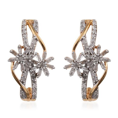 Diamond (Rnd) Floral Earrings (with Push Back) in 14K Gold Overlay Sterling Silver 0.500 Ct.