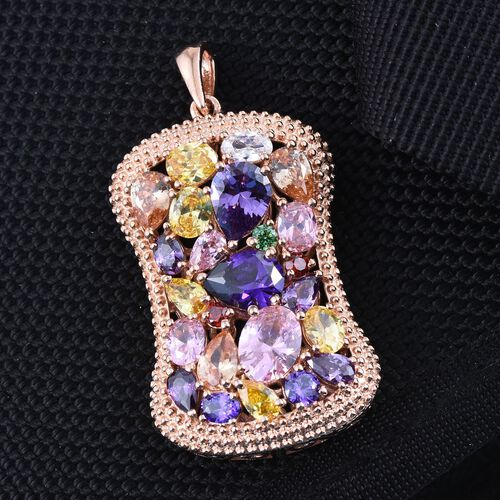 AAA Simulated Pink Sapphire (Ovl), Simulated Tanzanite, Simulated Amethyst, Simulated Citrine, Simulated Emerald and Multi Gem Stone Pendant in ION Plated 18K Rose Gold Bond