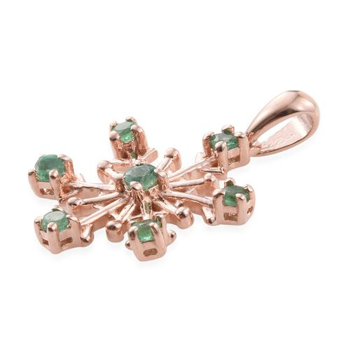 Kagem Zambian Emerald (Rnd) Snowflake Pendant in Rose Gold Overlay Sterling Silver 0.500 Ct.