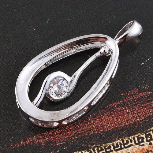 Designer Inspired- Platinum Overlay Sterling Silver (Rnd) Pendant Made with SWAROVSKI ZIRCONIA, Silver wt 3.75 Gms.