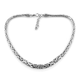 Royal Bali Collection Sterling Silver Graduated Borobudur Necklace (Size 18 with 2 inch Extender), Silver wt 70.48 Gms.