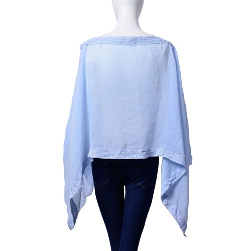 Blue Colour Poncho with Lace Pattern at the Border (Size 100x75 Cm)