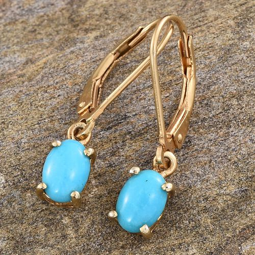 Arizona Sleeping Beauty Turquoise (Ovl) Lever Back Earrings in 14K Gold Overlay Sterling Silver 1.000 Ct.