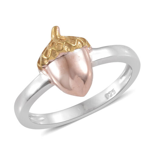 Silver Acorn Nut Ring in Platinum, Yellow and Rose Gold Overlay
