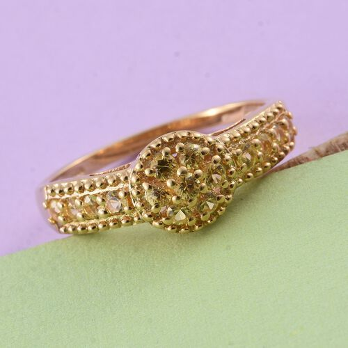 Chanthaburi Yellow Sapphire (Rnd) Ring in 14K Gold Overlay Sterling Silver 0.750 Ct.