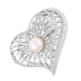 Fresh Water White Pearl and Simulated White Diamond Heart Design Brooch in Silver Tone