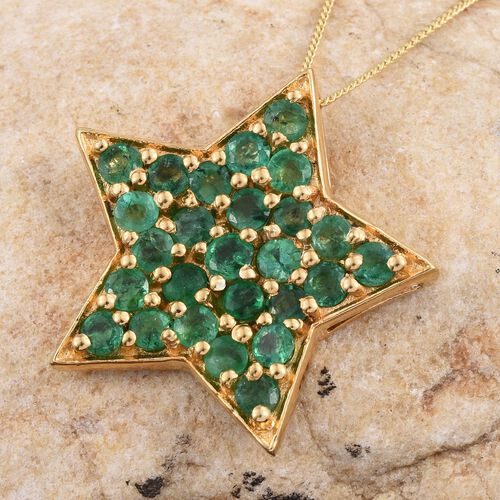Kagem Zambian Emerald (Rnd) Star Pendant With Chain in 14K Gold Overlay Sterling Silver 3.000 Ct.