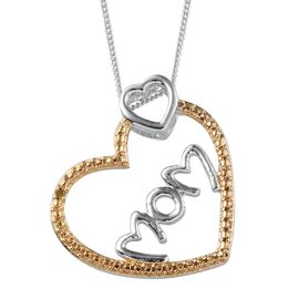 Yellow Diamond (Rnd) Mom Heart Pendant With Chain in Platinum Overlay Sterling Silver