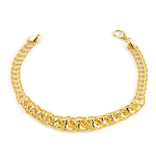 Vicenza Collection 9K Y Gold Double Curb Bracelet (Size 7.5 with 1 inch Extender), Gold wt 6.65 Gms.