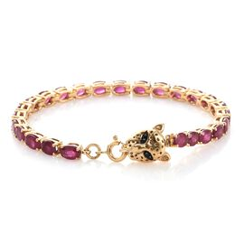 TJC Special Deal- Designer Inspired AAA African Ruby (Ovl) Leopard Head Bracelet (Size 7) in 14K Gold Overlay Sterling Silver 16.270 Ct. Silver wt 9.76 Gms.