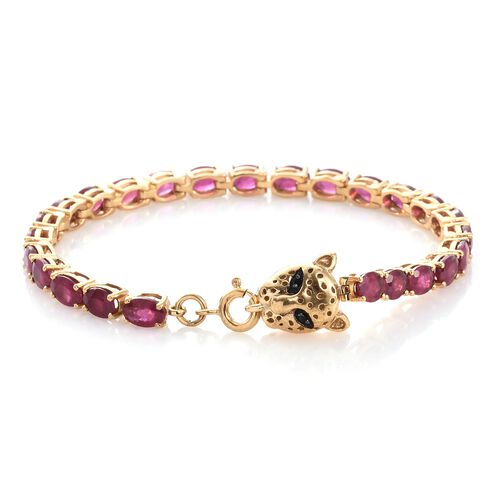 TJC Special Deal- Designer Inspired AAA African Ruby (Ovl) Leopard Head Bracelet (Size 7) in 14K Gold Overlay Sterling Silver 16.270 Ct.
