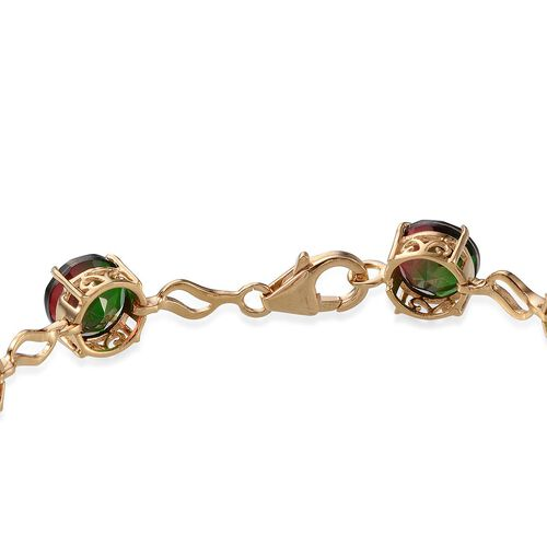 Tourmaline Colour Quartz (Rnd) Bracelet in 14K Gold Overlay Sterling Silver (Size 7.5) 22.000 Ct.