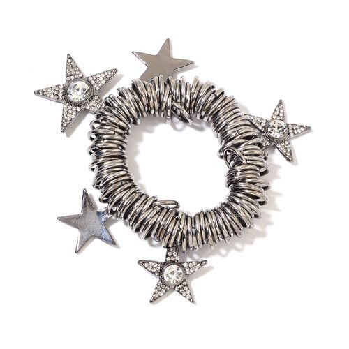AAA White Austrian Crystal and Simulated White Diamond Star Charms Stretchable Bracelet (Size 7) in Black Tone