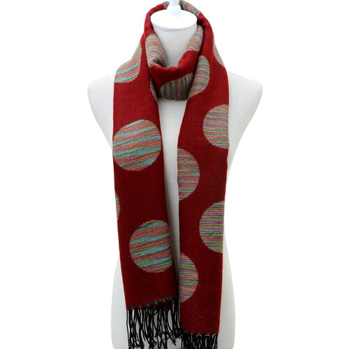 Multi Colour Large Polka Dot Pattern Red Scarf (Size 180x65 Cm)