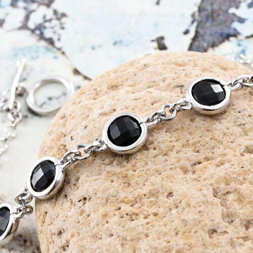Designer Inspired- BRIOLITTE CUT Boi Ploi Black Spinel (Rnd) Bracelet (Size 7.5) in Platinum Overlay Sterling Silver 5.750 Ct.