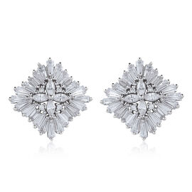 ELANZA AAA Simulated Diamond (Mrq) Stud Earrings (with Push Back) in Rhodium Plated Sterling Silver