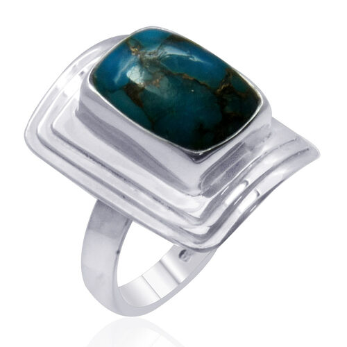 Royal Bali Collection Mohave Blue Turquoise (Cush) Solitaire Ring in Sterling Silver 6.370 Ct.