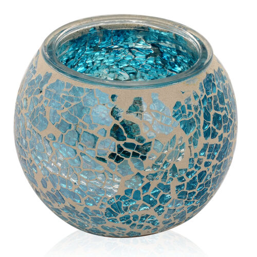 Set of 2 - Handmade Sea Blue Colour Mosaic Glass Candle Holder