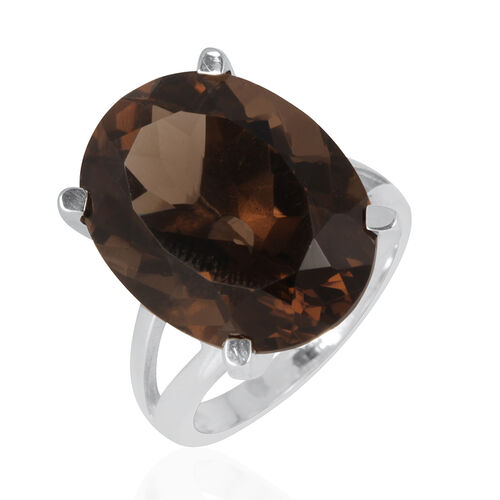 Rare 100 Facet Brazilian Smoky Quartz (Ovl) Solitaire Ring in Platinum Overlay Sterling Silver 16.750 Ct.