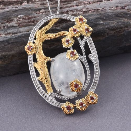 GP Rainbow Moonstone (Ovl 10.00 Ct), Mozambique Garnet and Kanchanaburi Blue Sapphire Pendant with Chain in Platinum and Yellow Gold Overlay Sterling Silver 10.250 Ct.