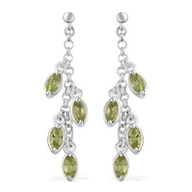 Hebei Peridot (Mrq) Dangle Earrings (with Push Back) in Sterling Silver 2.250 Ct. Silver wt 4.38 Gms.