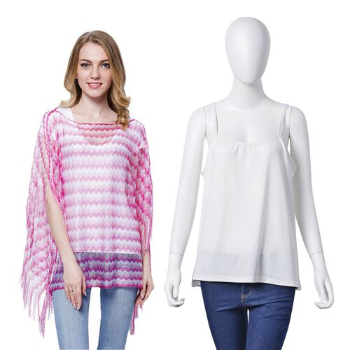 White, Pink and Light Pink Colour Stripe Pattern Poncho (Size 90x55 Cm) and White Colour Vest (Size 60x55 Cm)