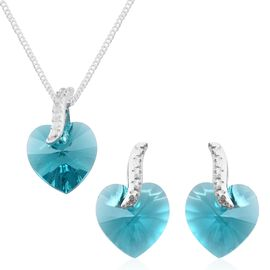 J Francis Crystal from Swarovski - Aquamarine Colour Crystal (Hrt) Pendant with Chain (Size 18) and Earrings (with Push Back) in Sterling Silver