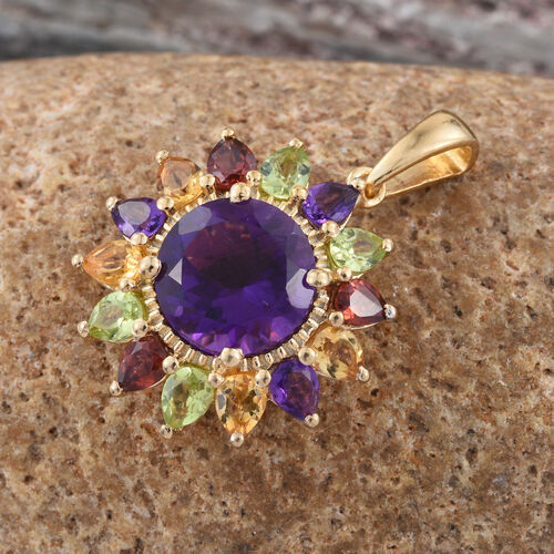Amethyst (Rnd 3.25 Ct), Mozambique Garnet, Hebei Peridot and Citrine Sunflower Pendant in 14K Gold Overlay Sterling Silver 5.750 Ct.