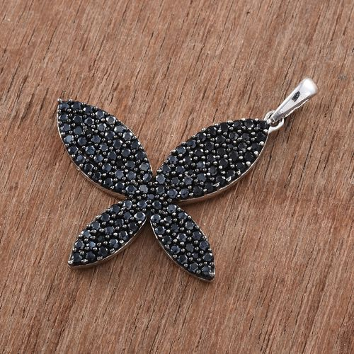 Boi Ploi Black Spinel (Rnd) Butterfly Pendant in Platinum Overlay Sterling Silver 2.250 Ct. Number of Gemstone 121