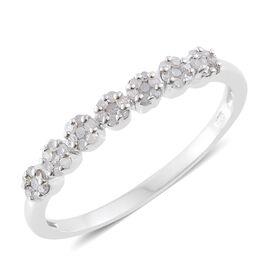 Diamond (Rnd) Pressure Set Floral Ring in Platinum Overlay Sterling Silver 0.330 Ct.