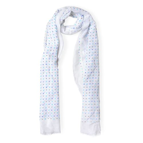 Blue and Black Colour Small Circular Pattern White Colour Scarf (Size 180x70 Cm)