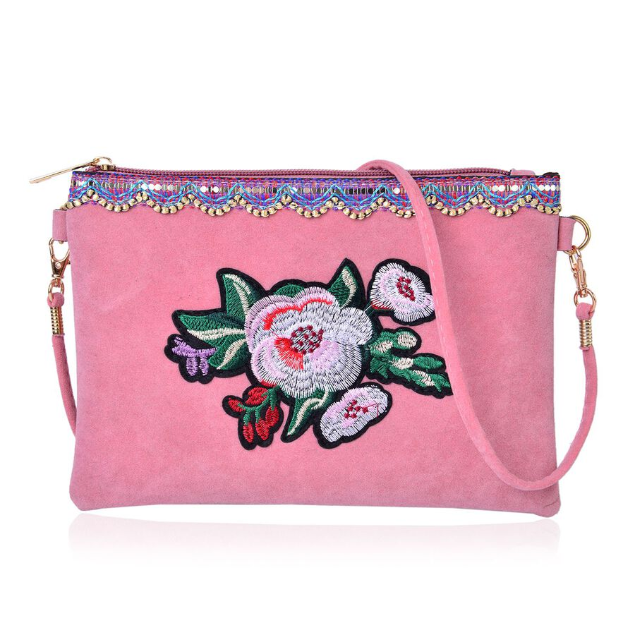 Peony Pink Floral Embroidered Velvet Crossbody Bag With Removable Shoulder Strap (Size 23X16 Cm ...