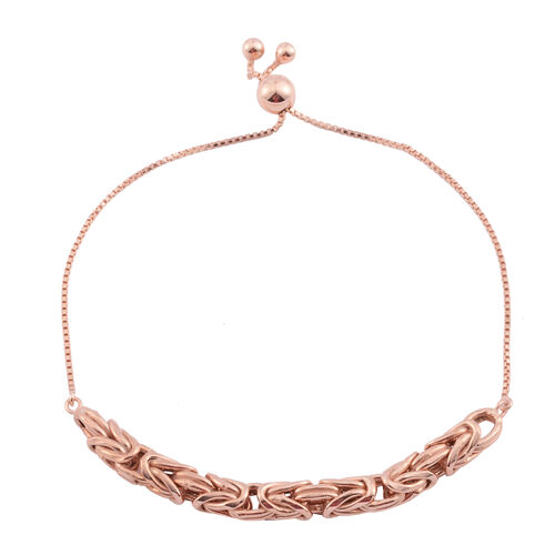 Limited Edition- Vicenza Collection Rose Gold Overlay Sterling Silver Byzantine Adjustable Bracelet (Size 6.5 to 9), Silver wt. 5.60 Gms.
