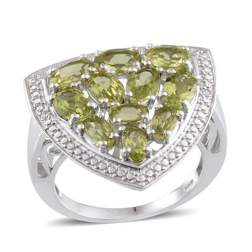 Hebei Peridot (Ovl), Diamond Ring in Platinum Overlay Sterling Silver 3.760 Ct.